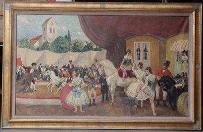 Marcel COSSON (1878-1956) Marcel COSSON (1878-1956)  Les ecuyères  Huile sur toile...