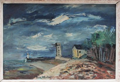 Anders OSTERLIND (1887-1960)  Stormy sky landscape  Oil on canvas signed down towards...