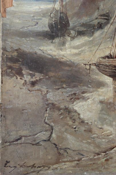 ÉCOLE FRANÇAISE, late 19th century Sailboats and barges stranded near the cliffs...