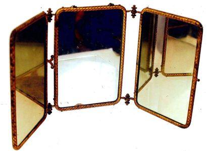 Joli miroir à trois faces avec chromolithographie....