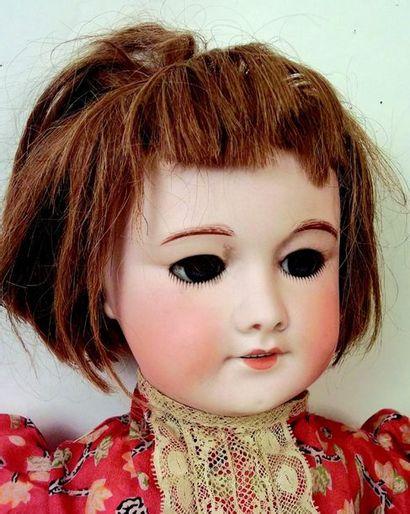 Bébé by SFBJ, poured bisque head, open mouth, blue sleeping glass eyes , original...