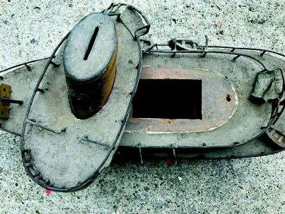 « La LIBERTE» Rare paquebot en bois et métal fait main formant tirelire ou tronc...
