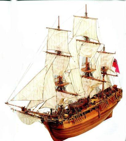 -Maquette de bateau «LE BOUNTY» en bois et...