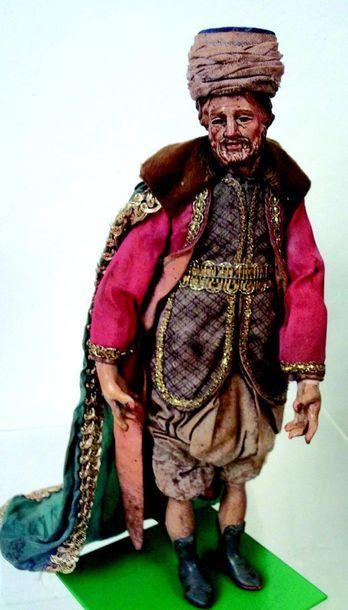 -«Dignitaire turc avec manteau» Santon napolitain...