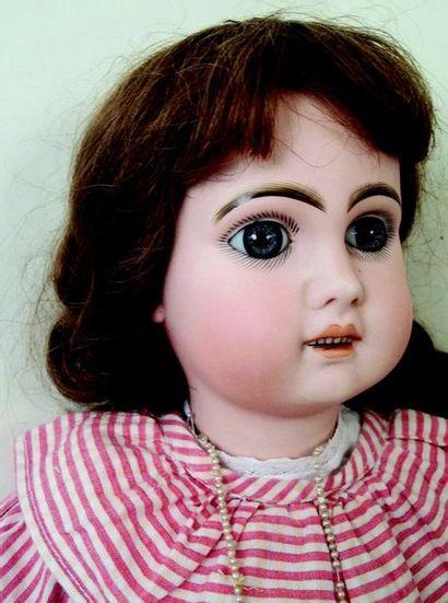 Bébé JUMEAU (période SFBJ) tête en biscuit coulé, bouche ouverte, yeux fixes bleus...