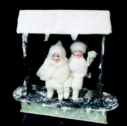 -Metal swinging candy box with two biscuit mignonettes. Snow decoration. Antique...