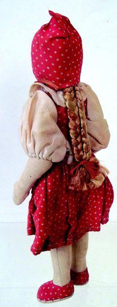 -«Le petit chaperon rouge» poupée à tête en carton et corps tissu bourré habits...