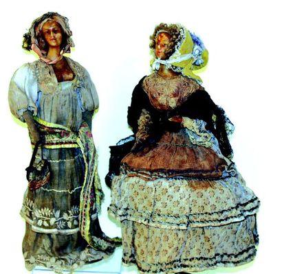 -Paire de poupées artistiques à têtes bustes...