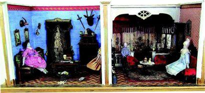 Double chambre de poupées en bois de fabrication...
