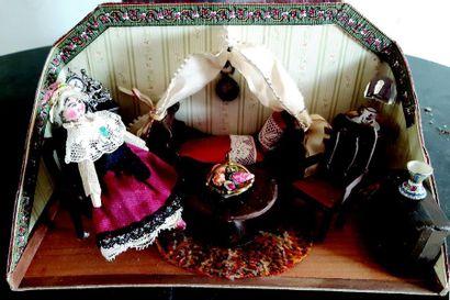 -Salon miniature avec accessoires et poupes...