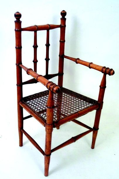 Small children's chair in pitchpin with...