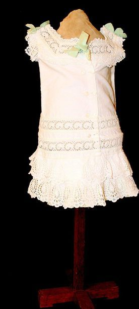 Young girl white cotton dress, superbly made,...