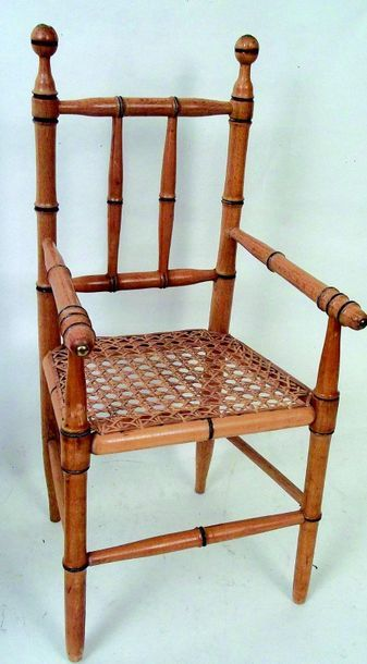 -Two pitchpin chairs with cane seat. H 4...