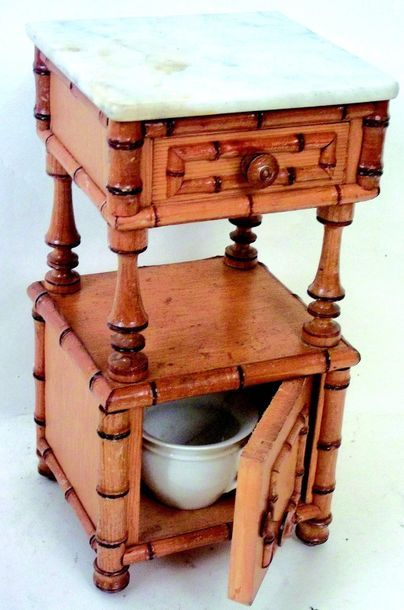 -Bedside table with marble top and a drawer and door with a night vase (crack)....