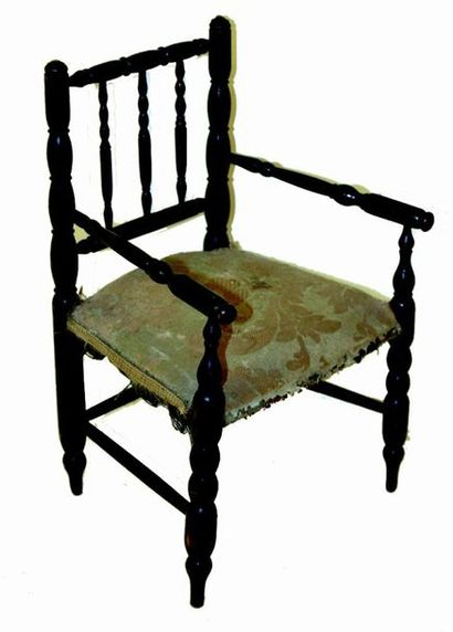 Doll's armchair in blackened wood, Napoleon...