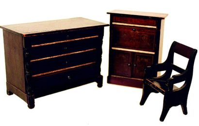 Two pieces of BIEDERMEYER furniture, a secretary H 10cm + a chest of drawers with...