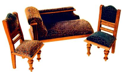 -Set of miniature wooden furniture, including a sofa and two chairs covered with...