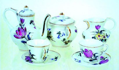 Porcelain doll's coffee set of small size (H 10 cm) with hand painted polychrome...