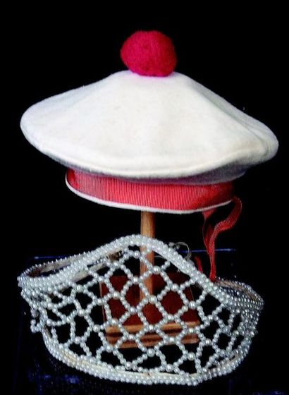 A white and red pompom beret with red clasp headband (for size 5) + a Russian dancers...