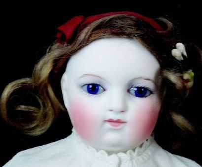 Rare Parisian doll from the house GODINEAU et POPINEAU, bust head in pressed biscuit,...