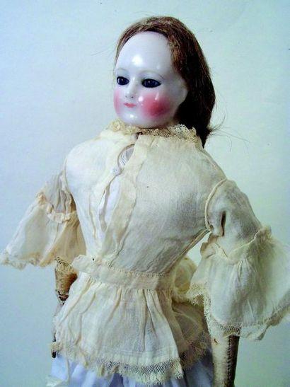 - Rare poupée parisienne de la maison BLAMPOIX (1875) buste en porcelaine avec les...