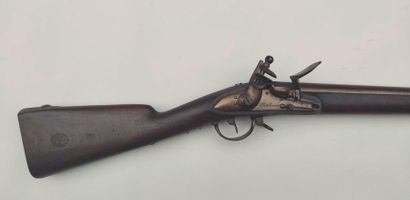 """Rifle of infantry model 1822, engraved lock """"Châtellerault"""", iron trim. With bayonet..."""
