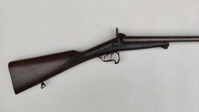 Fusil de chasse à broche, deux coups, calibre 12, canons ruban, platines signées...