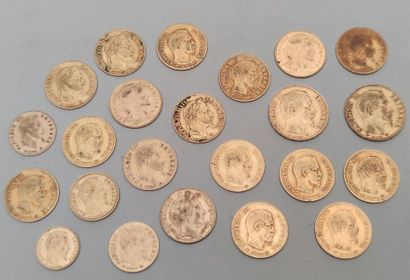 SET OF 23 French yellow gold coins: 2 pieces of 20 Francs gold 1855 A and 1858 A...