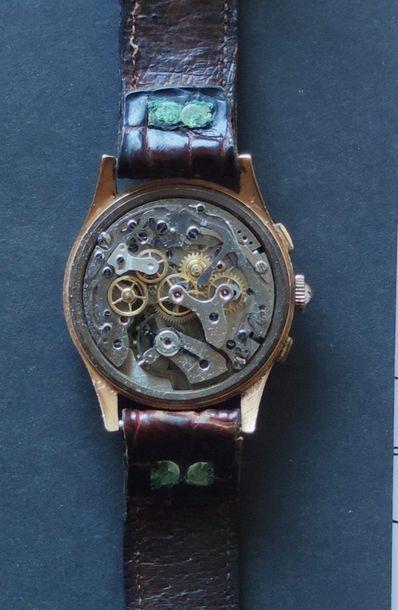 CHRONOGRAPHE SUISSE montre-bracelet chronographe, le boitier en or jaune 750°/°°,...