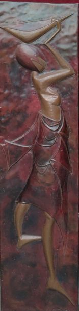 KALENGA AL AFRICAN WOMAN circa 1950 PLAQUE in embossed copper with patina, signed...