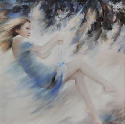 BONNAND Michel La demoiselle bleue Huile...