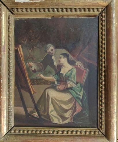 Charles CHIVOT (1866-?), attribué à La leçon de musique et La leçon de peinture...