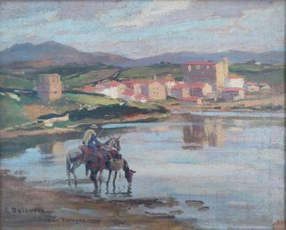 Édouard DOIGNEAU (1865-1954) Rider and his mounts near a village in the Baie de...