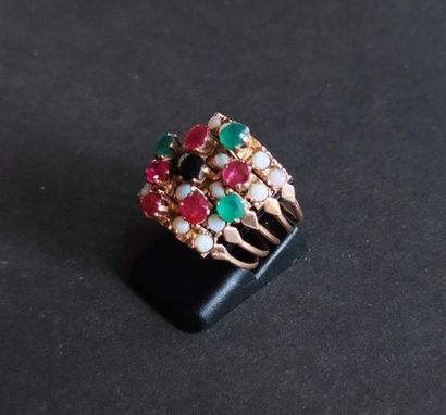 RING Five rings in yellow gold 750°/°°° set with coloured stones Gross weight: 5.7...