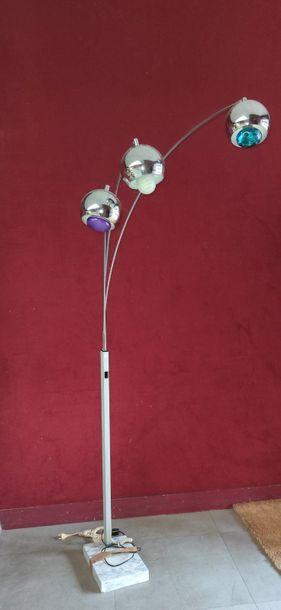 LAMPADAIRE contemporain en métal brossé et...