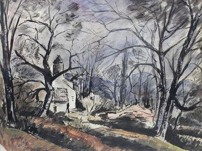Anders OSTERLIND (1887-1960) Paysage Aquarelle et encre de chine signée et datée...
