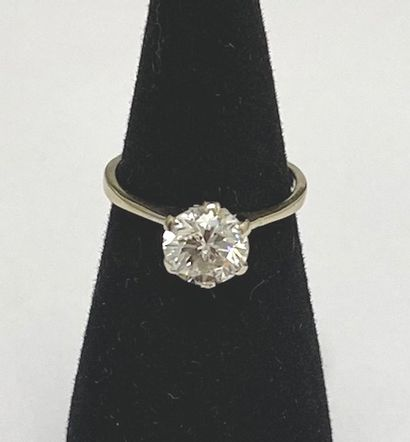 Ring in 18K (750) white gold, set with a round brilliant cut diamond. Finger size:...