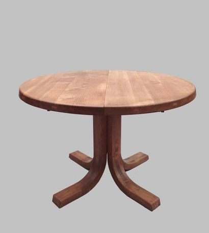Pierre CHAPO (1927-1987) TABLE model T40 A in solid light wood, round shape with...