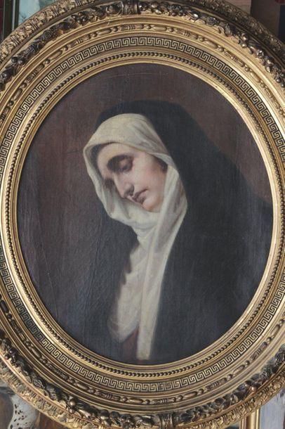 ECOLE ETRANGERE XIXe siècle vers 1860 Portrait d'une sainte Huile sur toile à vue...