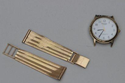 MONTRE-BRACELET d'homme, le boitier en métal, bracelet en or jaune 750°/°°  Poids...
