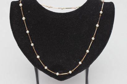 Tour de cou en or jaune 750°/00 orné de 20 perles de culture Long : 50 cm  Poids...