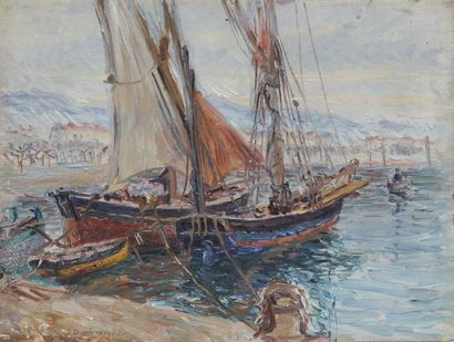 Edouard Jean DAMBOURGEZ (1844-1931) Port with sailboats and Boats on the canal in...