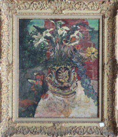 Guillemette MORAND (1913-1989) Bouquet de fleurs Huile sur toile signée en bas à...