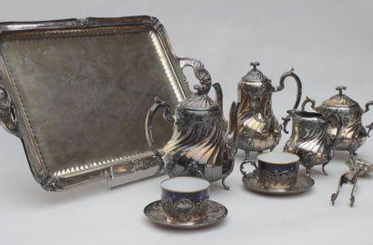 GALLIA, service à thé et café en métal argenté...