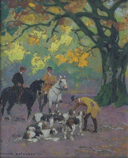 Édouard DOIGNEAU (1865-1954) Scène de chasse...