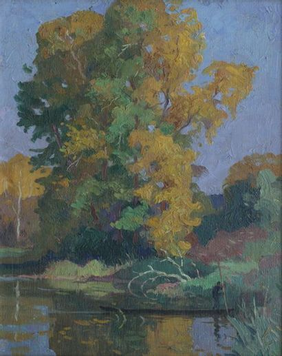 Édouard DOIGNEAU (1865-1954) attributed to Fisherman on the shaded river Oil on...