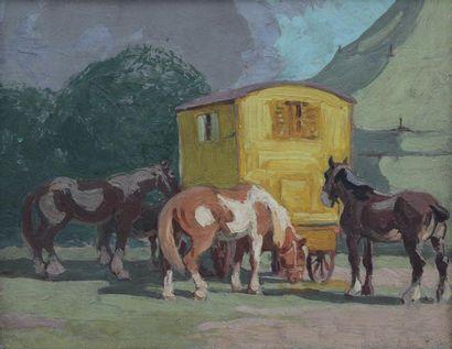 Maurice F. PERROT (1892-1935) attribué à Chevaux auprès de la roulotte Huile sur...