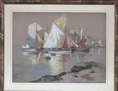 Édouard DOIGNEAU (1865-1954) Voiliers à Concarneau Aquarelle signée et située en...