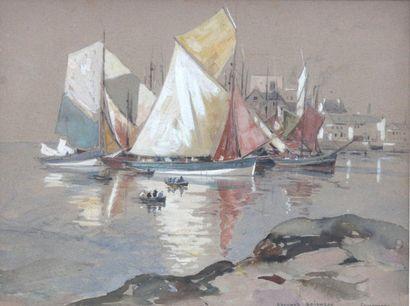 Édouard DOIGNEAU (1865-1954) Voiliers à Concarneau...