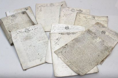 Set of old notarial deeds from the 18th and...